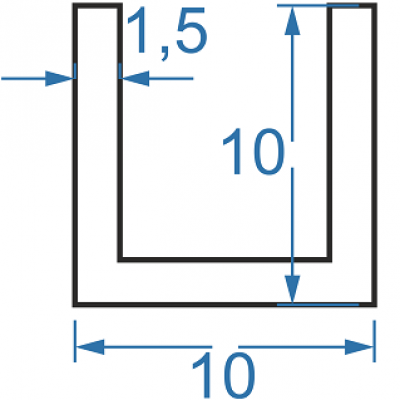 Швеллер алюминиевый 10x10x1.5