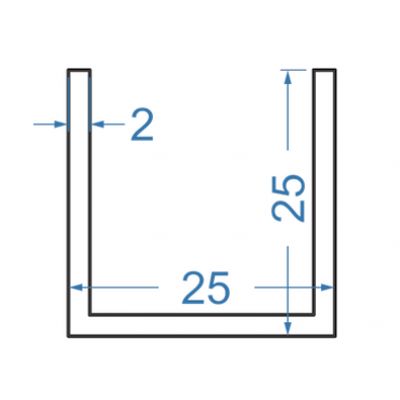 Швеллер алюминиевый 25x25x2