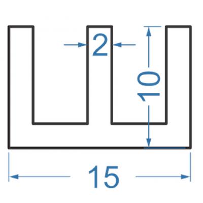 Алюминиевый Ш-профиль 15x10