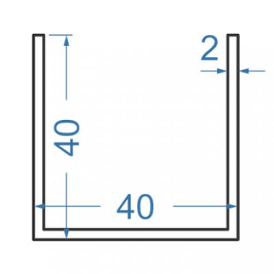 Швеллер алюминиевый 40x40x2