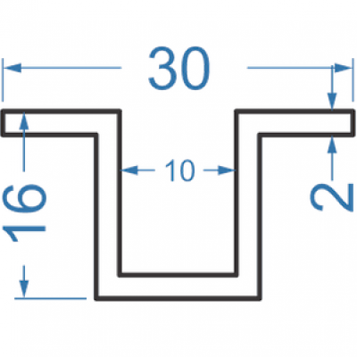Швеллер алюминиевый 30x16x2