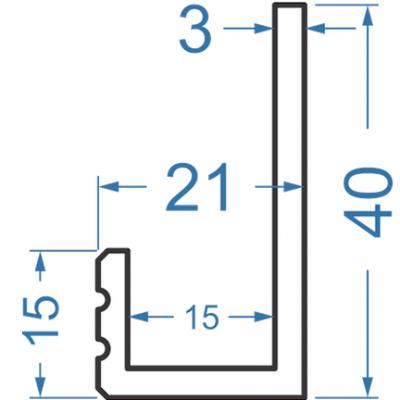 Алюминиевый L-профиль 40x21x3