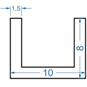 Швеллер алюминиевый 10x8x1.5