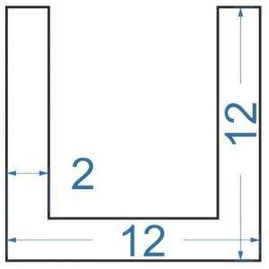 Швеллер алюминиевый 12x12x2