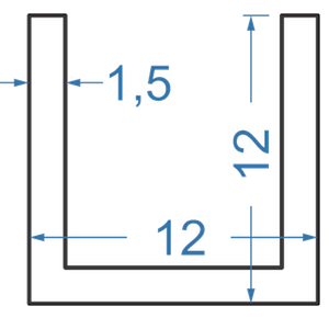 Швеллер алюминиевый 12x12x1.5