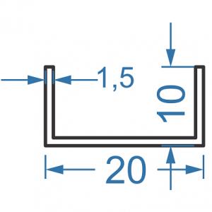 Швеллер алюминиевый 20x10х1,5
