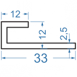 Алюминиевый L-профиль 33x12 анодированный