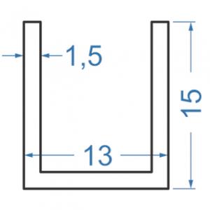 Швеллер алюминиевый 13x15x1.5