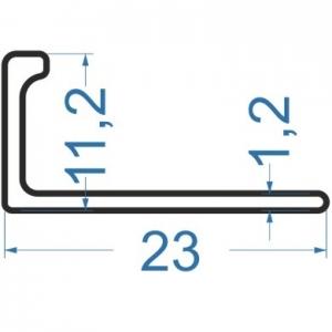 Алюминиевый L-профиль 23x11.2x1.2