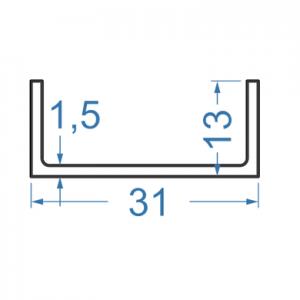 Швеллер алюминиевый 31x13x1.5
