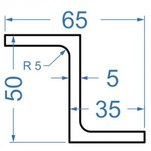 Алюминиевый Z-профиль 50x35x5