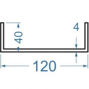 Швеллер алюминиевый 120x40x4