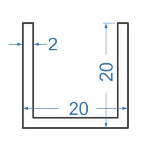 Швеллер алюминиевый 20x20x2