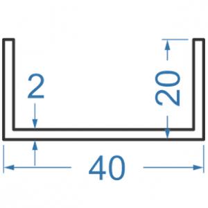 Швеллер алюминиевый 40x20x2