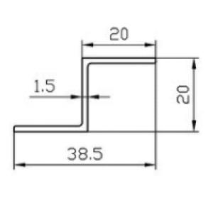 Алюминиевый Z-профиль 20x20x1.5 анодированный