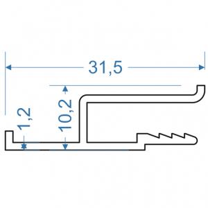 Гарпун алюминиевый 31.5х10.2 анодированный
