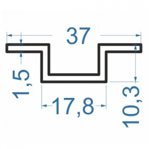 Швеллер алюминиевый 37x10.3x1.5