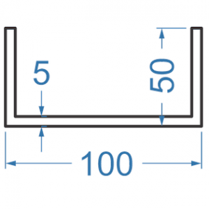 Швеллер алюминиевый 100x50x5