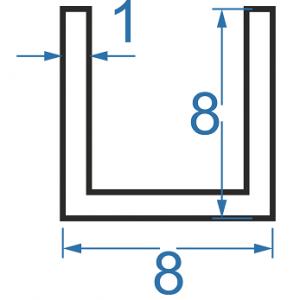 Швеллер алюминиевый 8x8x1