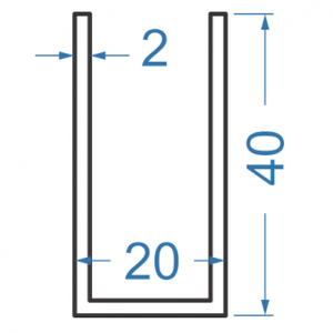 Швеллер алюминиевый 20x40x2