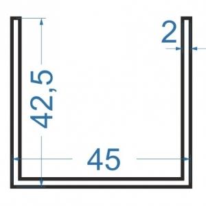 Швеллер алюминиевый 45x42.5x2