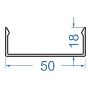 Швеллер алюминиевый 50x18x2