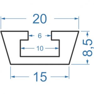 Швеллер алюминиевый 20x15x8.5
