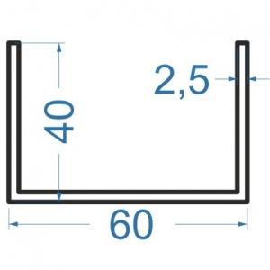 Швеллер алюминиевый 60x40x2.5
