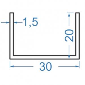 Швеллер алюминиевый 30x20x1.5