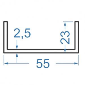 Швеллер алюминиевый 55x23x2.5