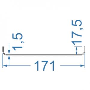 Швеллер алюминиевый 171x17.5x1.5