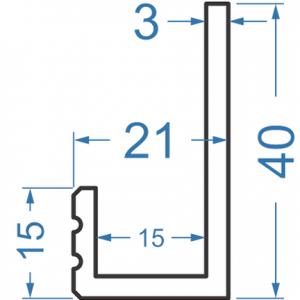 Алюминиевый L-профиль 40x21x3 анодированный